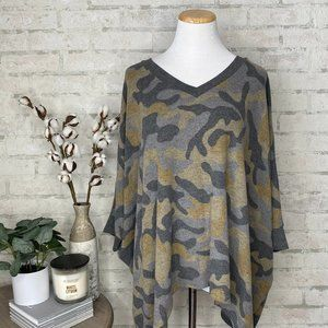 Maurices   Oversized Camo Poncho Sweater